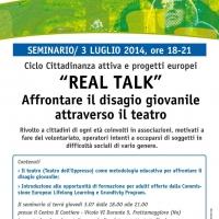 """CANTIERE GIOVANI: DOMANI 3 LUGLIO, DALLE 18.00, SEMINARIO """"REAL TALK"""" PER APPROCCIARE IL DISAGIO GIOVANILE"""