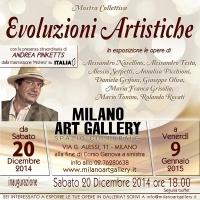 """Milano Art Gallery: sabato 20 Dicembre ore 18.00 presenta """"Evoluzioni artistiche"""" mostra collettiva con ospite d'onore da Italia uno Andrea Pinketts"""
