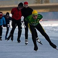 I pattinatori su ghiaccio olandesi danno spettacolo a Weissensee