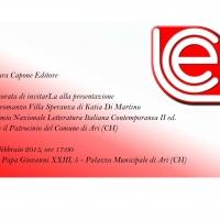 Premio Letteratura Italiana Contemporanea - Presentazione Villa Speranza di Katia Di Martino 21 febbraio ore 17:00, Ari (CH)