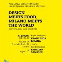 """Dalla sostanza al packaging: """"Good design, food design"""" al centro di una conversazione e di uno showcooking sulla creatività il 22 giugno 2015 in corso Monforte 28 a Milano"""