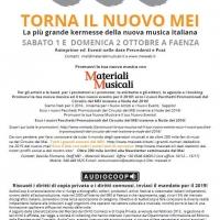 Il MEI annuncia le sue date Sanremo : la grande Kermesse della nuova musica italiana si terrà il prossimo Sabato 1 e Domenica 2 ottobre a Faenza