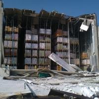 Dalmine LS e lo scaffale che regge il tetto del magazzino