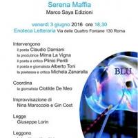 All'Enoteca Letteraria la presentazione di 'Blu' il nuovo libro di Serena Maffia