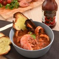 Zuppa di pesce con salsa pronta di pomodorino ciliegino Agromonte