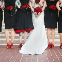 Black Bridesmaid Dresses for Halloween Theme Wedding