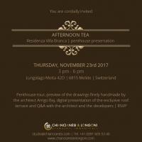 Chiancianesi & Longoni organizzano un Afternoon Tea a Villa Branca il 23 novembre