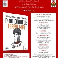 Musica & cultura a Torella del Sannio: domenica 14 gennaio in onore del grande Pino Daniele la presentazione del libro Terra Mia degli autori Claudio Poggi e Daniele Sanzone.
