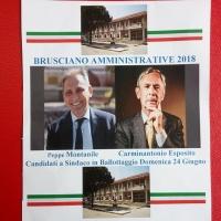 Brusciano Amministrative 2018 l'Avvocato Peppe Montanile ed il Giudice Carminantonio Esposito impegnati per il Ballottaggio del 24 Giugno. (Scritto da Antonio Castaldo)