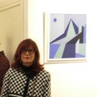 """all'antico Broletto di Como la pittrice  Franca D'Alfonso presenta la mostra """"Natura e Logos"""": opere astratte caratterizzate dal raffinato cromatismo di figure geometriche essenziali ."""