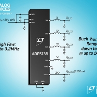 Regolatore step-down automotive-grade a 3,2MHz  con quattro canali da 1A + LDO, riduce ingombri ed EMI