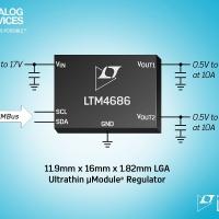 Regolatore µModule ultrasottile duale da 10A o singolo da 20A con Digital Power System Management