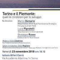 Domani (venerdì 23/11) a Torino si parla di crescita e futuro di città e regione