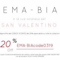 EMA-BIA accessori moda promo San Valentino:  Uno sconto speciale del 20% su tutti gli articoli