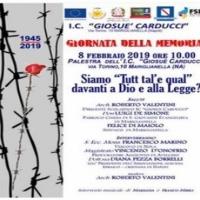 """Mariglianella: Venerdì 8 febbraio l'Amministrazione Comunale partecipa alla """"Giornata della Memoria"""" presso l'I. C. """"G. Carducci""""."""