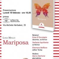 Mariposa, il libro di poesie di Luigi Mollo, edito dalla casa editrice Turisa, lunedi 18 febbraio alle ore 18 presso la Libreria Raffaello al Vomero