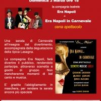 """Spettacolo di Carnevale """"Era Napoli… in Carnevale"""" con degustazione piatti tipici al teatro Lazzari Felici"""