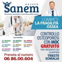 Controllo osteoporosi con MOC  GRATUITO presso il Laboratorio analisi  Sanem 2001 Viale Somalia 108