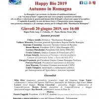 IL GAL L'ALTRA ROMAGNA PROTAGONISTA ALLA CONFERENZA STAMPA HAPPY BIO 2019 – AUTUNNO IN ROMAGNA presso il Bagno Perla di Punta Marina Terme