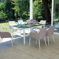 Tavolo Falconara e poltroncina Voltri di Greenwood. Appuntamento in giardino tra design e comodità