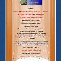 """5^Edizione del Premio di Poesia, Narrativa e Testi per una canzone  """"La forza dei sentimenti"""" . Scadenza bando il 25 Gennaio 2020"""