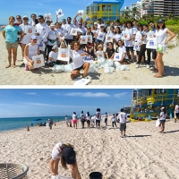"""I volontari de """"La Via della Felicità"""" si prendono cura delle spiagge di Miami in Florida"""