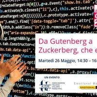 """Diretta con """"Da Gutenberg a Zuckerberg, che emozione!"""", martedì 26 maggio 2020 dalle ore 14.30 alle 16"""
