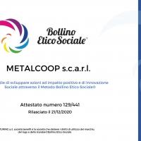 Metalcoop attestata secondo lo Standard BOLLINO ETICO SOCIALE®