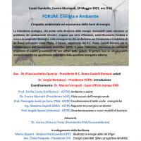 "Al via il Forum Scientifico ""Energia e Ambiente"""