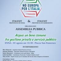 L'ACQUA : UN DIRITTO INALIENABILE O UNA MERCE? ASSEMBLEA PUBBLICA DI ITALEXIT A ENNA ALTA