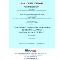 Al via il bando del Gal l' Altra Romagna dedicato alla biodiversità e alla valorizzazione della fauna selvatica