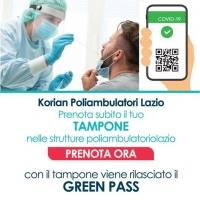 Tampone con rilascio Green Pass Poliambulatori Lazio Korian